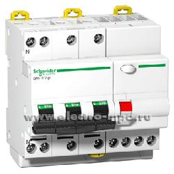 А2231. Дифф. автомат Acti 9 DPN N Vigi A9D31710 (тип АС) 10А-30мА 400В 3P+N 6кА (Schneider Electric)