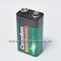 С9119. Элемент питания Camelion Super Heavy Duty Blue 6F22 (9V) BL1 9В 0,45 А/ч солевой (Camelion)